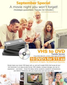 DVD transfer drom VHS 8mm tape Vancouver