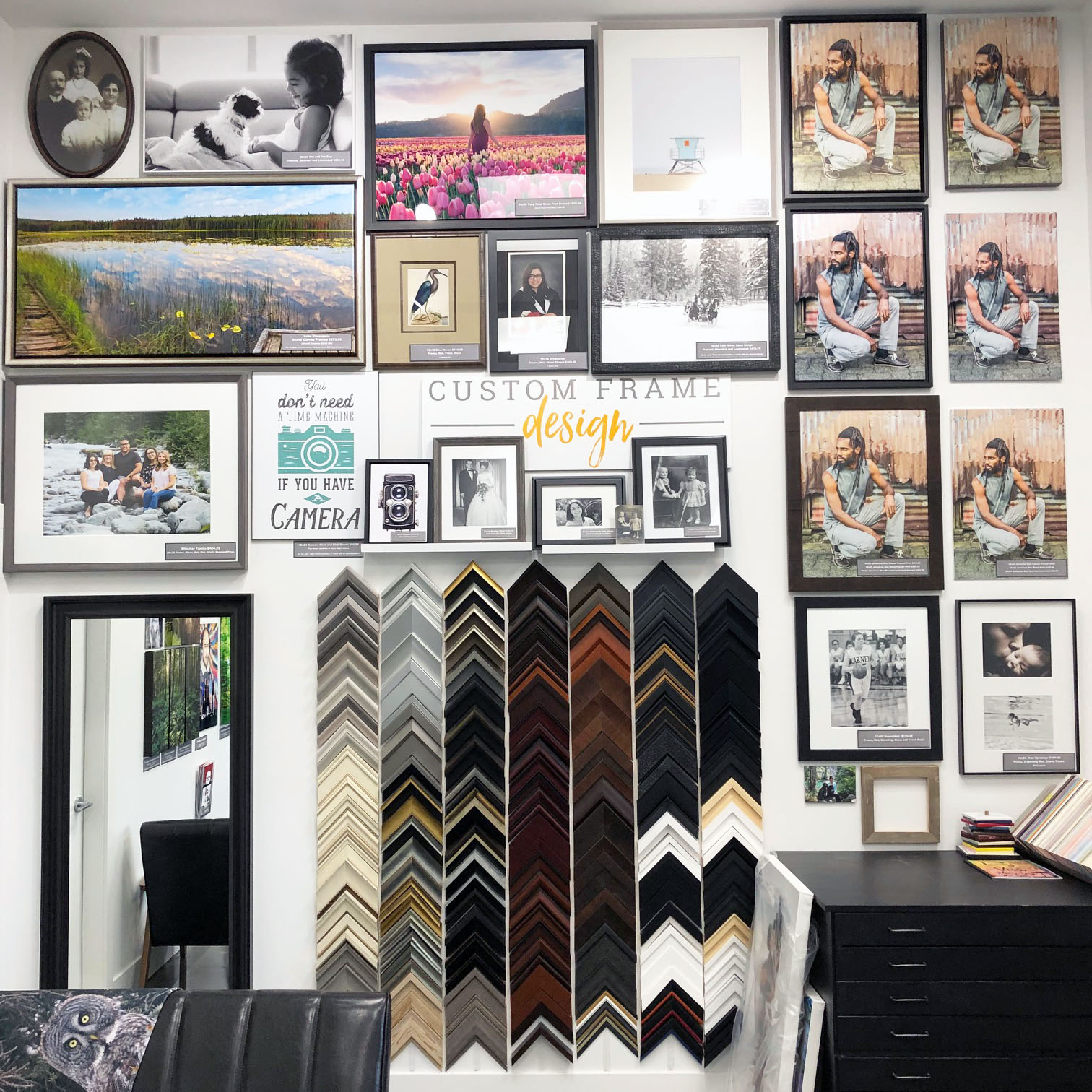 Custom Framing sample wall